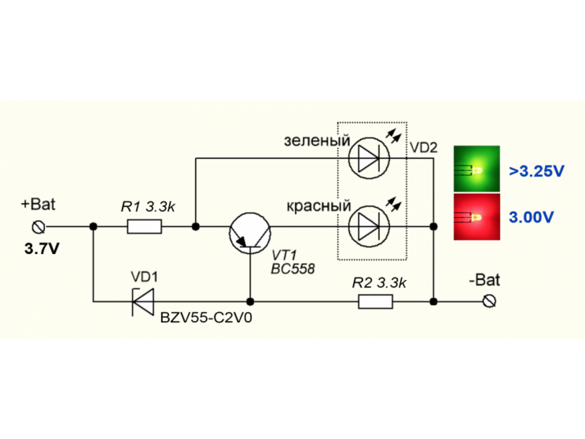 10 схем индикаторов разряда Li-ion аккумуляторов