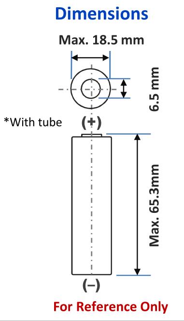 Panasonuc 18650PF dimensions;