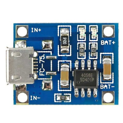 TP4056 - Li-ion Battery charger Module - 1A - Micro USB connector фото